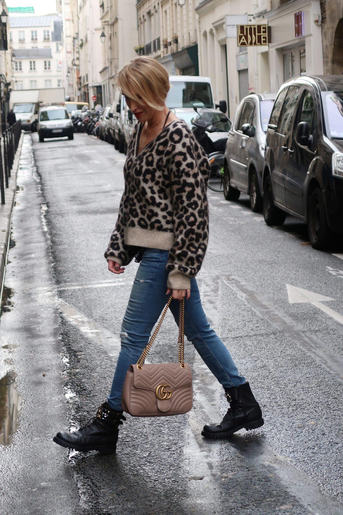 glamupyourlifestyle leo-muster animal-print Leo-Pullover ü40-mode ue40-Blog pariser-chic gucci-tasche
